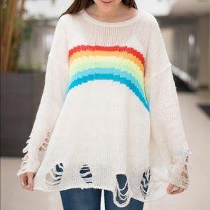 Wildfox Sweaters - Wildfox Distressed Dreamer Lennon Rainbow Sweater